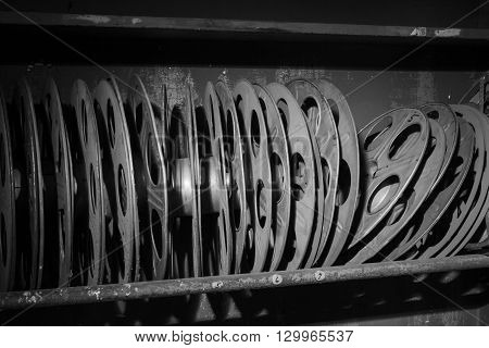 Antique Movie Reels In Black And White
