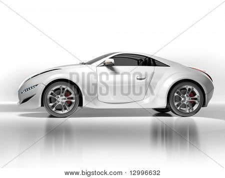 Sports car isolated on white background. My own car design. Not associated with any brand.