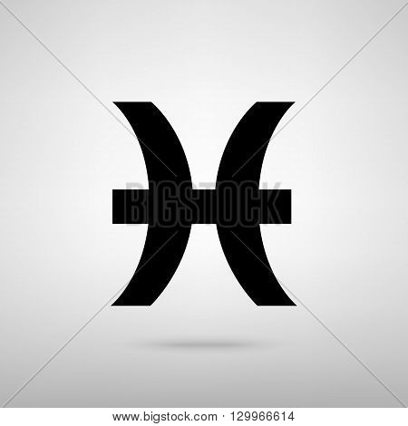 Pisces sign. Black with shadow on gray.