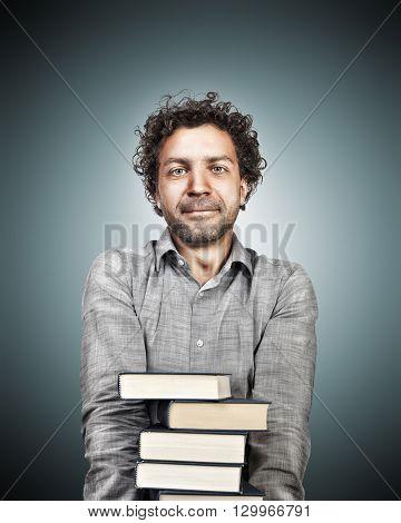 portrait of teacher with books