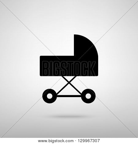 Pram sign. Black with shadow on gray.