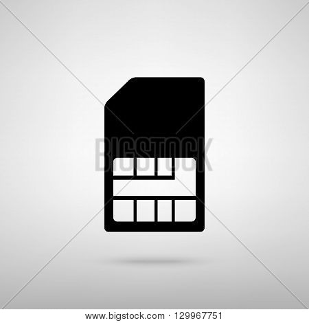 Sim card sign. Black with shadow on gray.