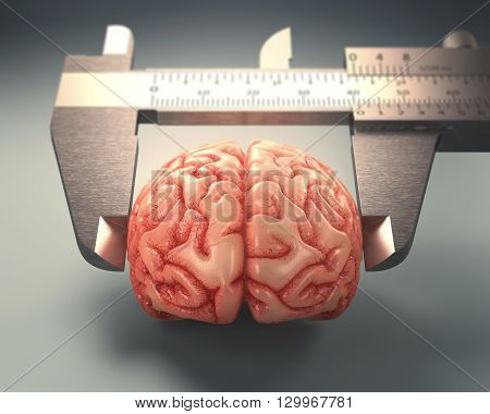 Caliper ruler measuring a human brain. Image concept of differences in IQs.