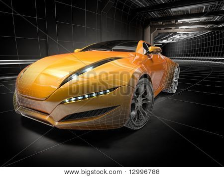 Wireframe car.  My own car design.