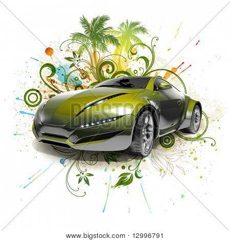 Green car concept.  My own car design.