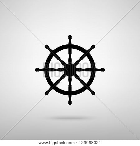 Ship wheel sign. Black with shadow on gray.