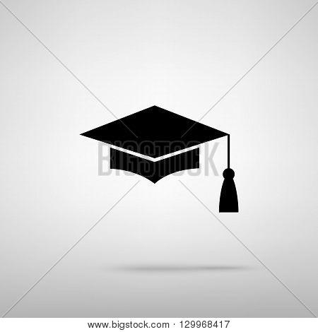 Mortar Board or Graduation Cap, Education symbol. Black with shadow on gray.