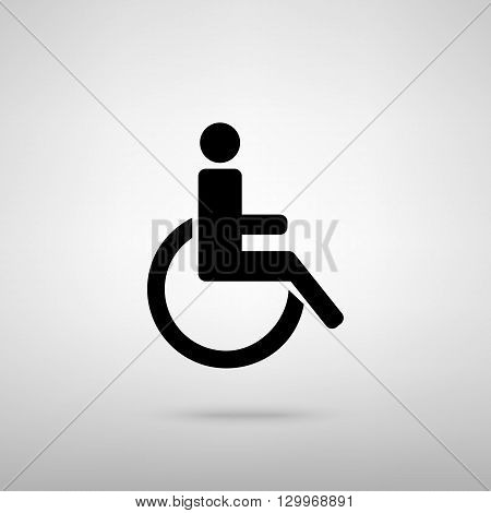 Disabled sign. Black with shadow on gray.