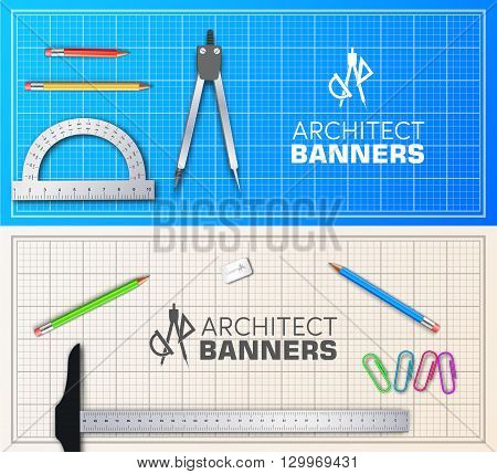 Architect wood table project with professional equipment background concept. Vector illustration banners design