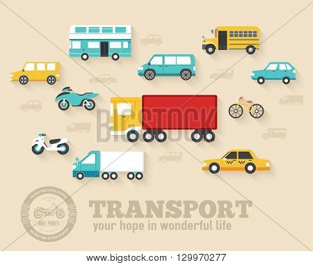 Flat cars concept set icon backgrounds illustration design. Template for web and mobile with long shadow