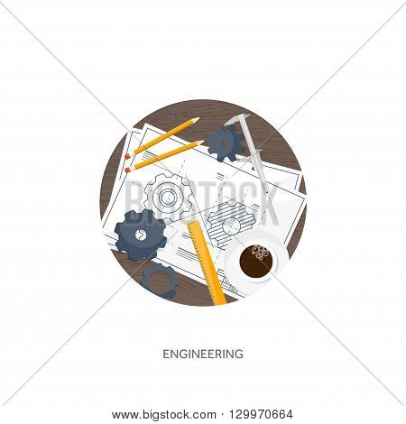 Vector illustration. Engineering and architecture. Drawing, construction.  Architectural project. Design, sketching. Workspace with tools. Planning, building.  Wood, wooden.