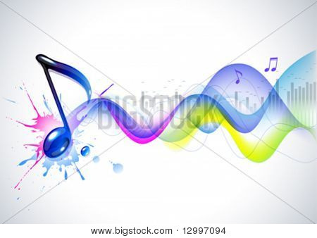 Note and sound waves. Music background.