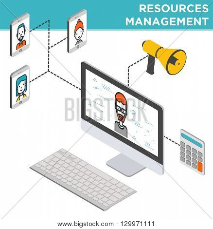 Flat Resources Management Vector illustration. Thin linear stroke vector