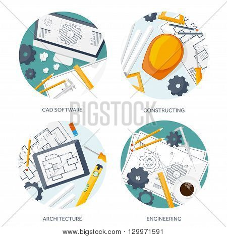 Vector illustration. Engineering and architecture. Drawing, construction.  Architectural project. Design, sketching. Workspace with tools. Planning and building.