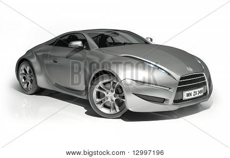 Silver sports car isolated on white background. My own car design. Logo on the car is fictitious.