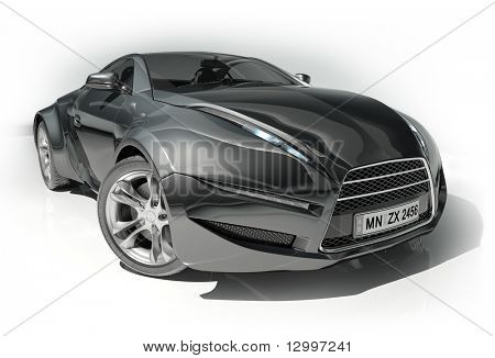 Black sports car isolated on white background.  My own car design.
