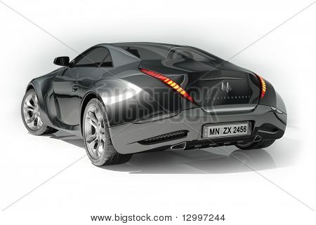 Black sports car isolated on white background.  My own car design. Logo on the car is fictitious.