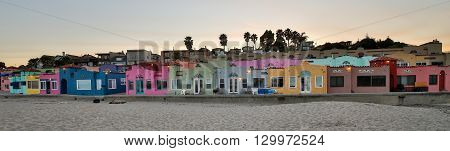 Venetian beach painted houses in Capitola, Santa Cruz County, California.