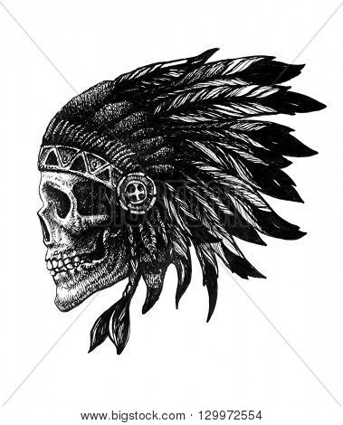 skull indian chief hand drawn jpeg version