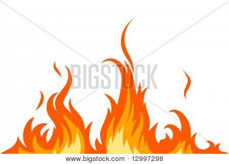 Vector fuego en blanco