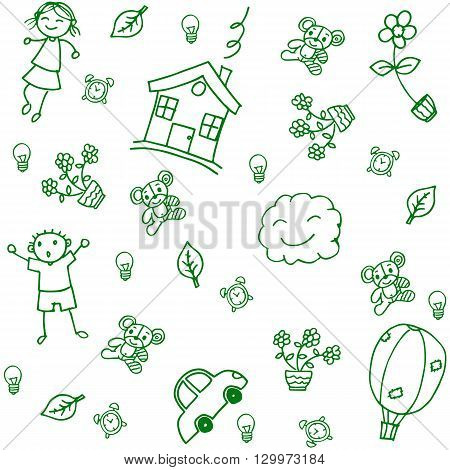 gree child drawing home of doodle art