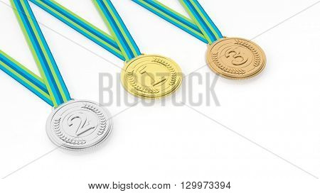3D rendering of  First,second and third place medals on white background