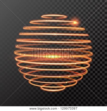 Vector gold sphere circles light train effect. Glowing atom structure with magic fire ring trace. Glitter sparkle swirl trail effect on black background