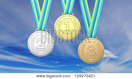 3D rendering of medals against of blue sky