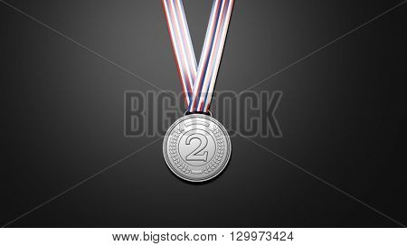 Close-up of 3D rendering silver medal on black background