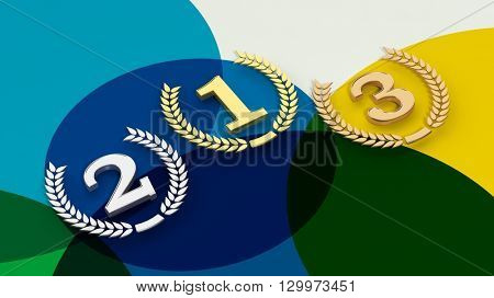 3D rendering of  Three winning places on colorful background