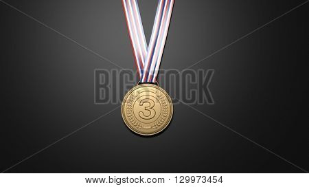3D rendering of Third place bronze medal on black background.