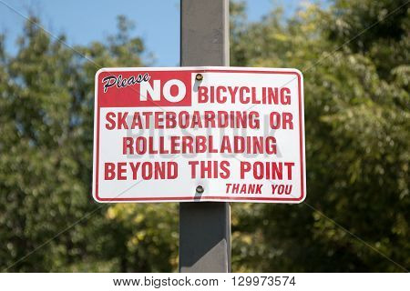 No Bicycling Sign