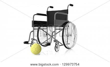 3D rendering of Wheelchair with yellow Handball  ball on white background.Isolated