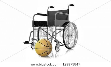 3D rendering of black wheelchair with basketball