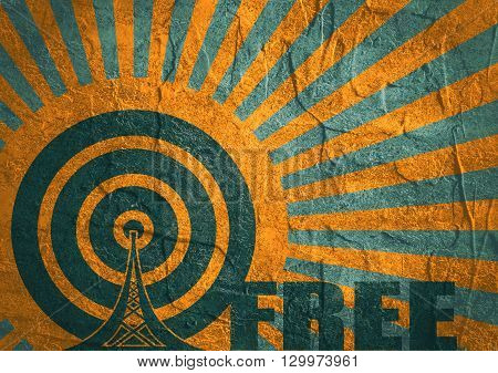 Wi Fi Network Symbol . Mobile gadgets technology relative image. Concrete textured. Sun rays backdrop. Free text