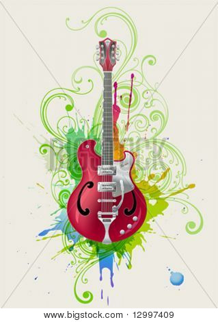 Vector electric guitar on grunge abstract background