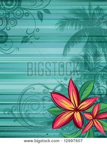 Tropical floral background with frangipani flowers