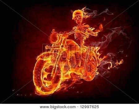 Burning skeleton riding a motorcycle