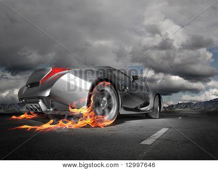 Burnout carro esportivo.  Projeto original do carro.
