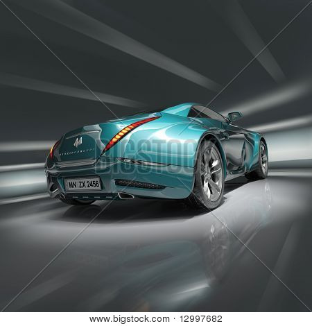 Sports car. Original car design. Logo on the car is fictitious.