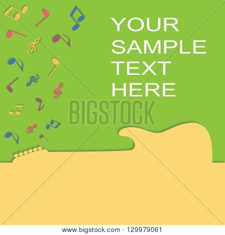 Guitar silhouette on a advertising card, vector illustration