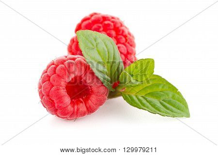 Closeup of raspberry fruit isolated over white background