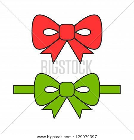 Red and green bows, ribbons. Flat coloured object. Decoration for holiday. Vector illustration