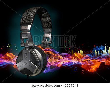 Headphones and sound-waves. The headphones design is my own made for the image. Logo is a fake.