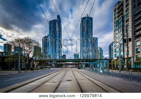 Streetcar Tracks And Modern Buildings Along Spadina Avenue, At The Harbourfront, In Toronto, Ontario