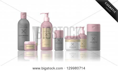 Cosmetic brand template. Vector packaging. Realistic cosmetic packaging isolated on white background.