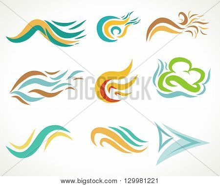 Abstract colorful graphic art , colorful tattoo set