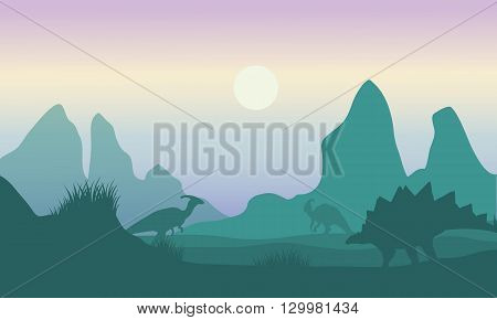 At morning silhouette of parasaurolophus and stegosaurus beautiful scenery