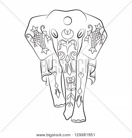 Decorative black and white lineart illustration of Indian elephant with ornaments. Use for t-shirt, poster, cards, tattoo design.