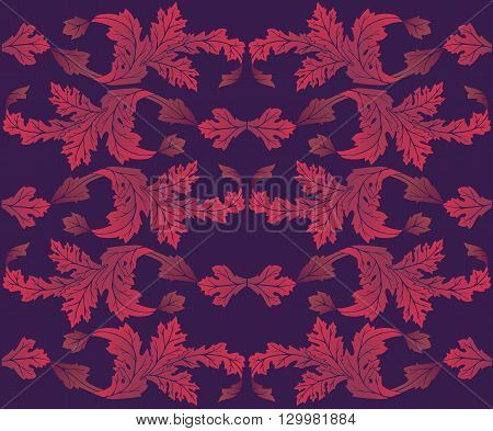 Vector background with foliage in shades of purple.